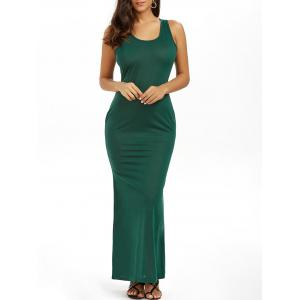 Racerback Summer Casual Summer Maxi Dress - Blackish Green - 2xl