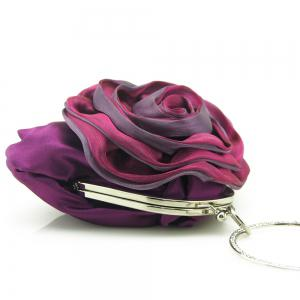 Satin Flower Metal Ring Evening Bag - PURPLE