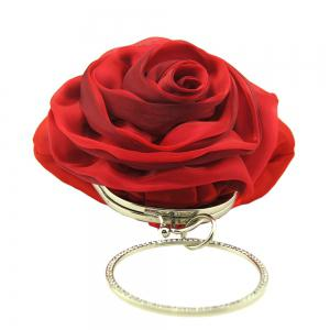 Satin Flower Metal Ring Evening Bag - RED