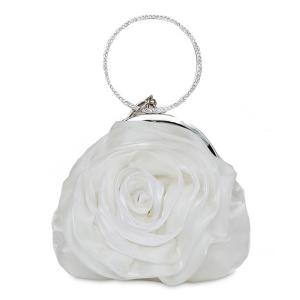 Satin Flower Metal Ring Evening Bag - White - 8
