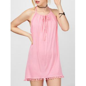 Spaghetti Strap Fringed Mini Casual Cute Dress - Pink - S