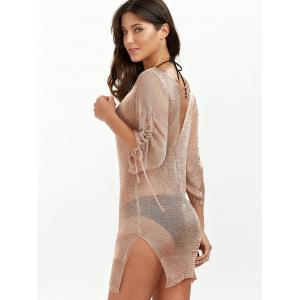 Slit Short Club Dress with Lace Up - Bronzé S
