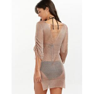 Slit Short Club Dress with Lace Up - BRONZE-COLORED XL