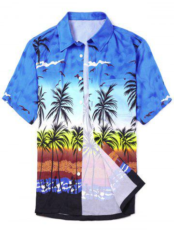 Store Coconut Tree Printed Short Sleeve Hawaiian Shirt