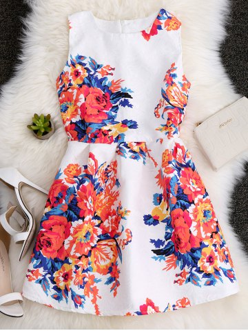 Cheap A Line Floral Printed Skater Dress