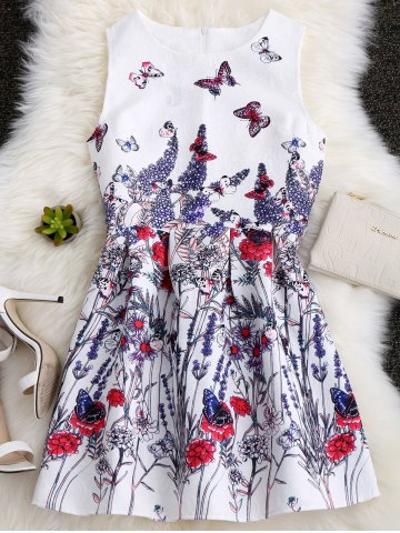 Sleeveless Sundress with Butterfly Floral Painting - White - L