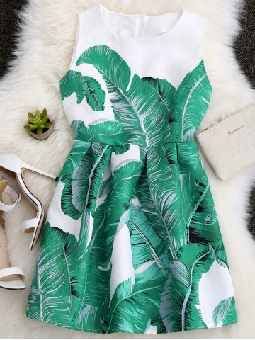 Online Palm Leaf Print A Line Hawaiian Skater Dress LEAF GREEN XL