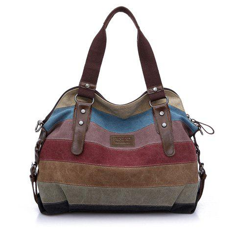Outfit Buckle Strap Striped Canvas Bag - BROWN  Mobile