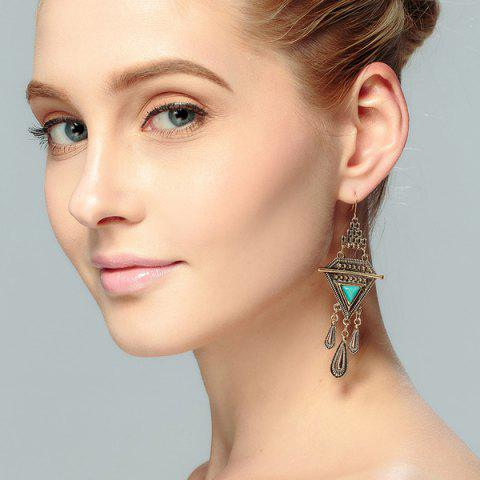 Buy Bohemian Triangle Fringed Faux Turquoise Drop Earrings - Golden