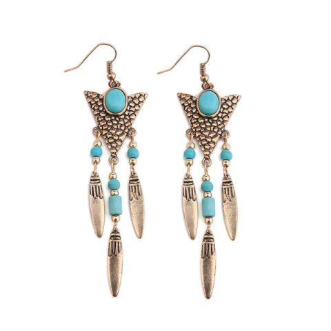 Buy Ethnic Triangle Fringed Faux Turquoise Drop Earrings - Golden