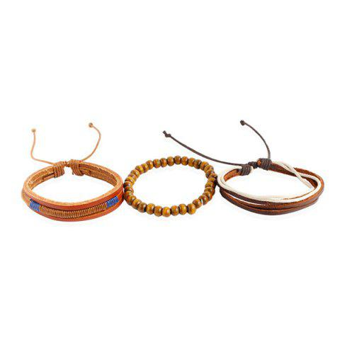 Hot Vintage Layered Beaded Faux Leather Friendship Bracelets - MULTICOLOR  Mobile