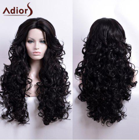 Fancy Adiors Long Curly Middle Part Capless Synthetic Wig BLACK