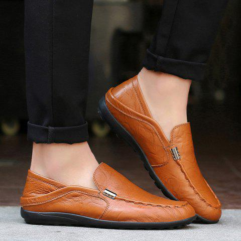 Buy Stitching Metal Embellishment Casual Shoes - Brown 43