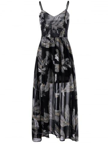 Online Shirred Waist Feather Print Dress