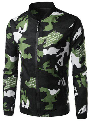 Zip Up Graphic Print Camo Jaket