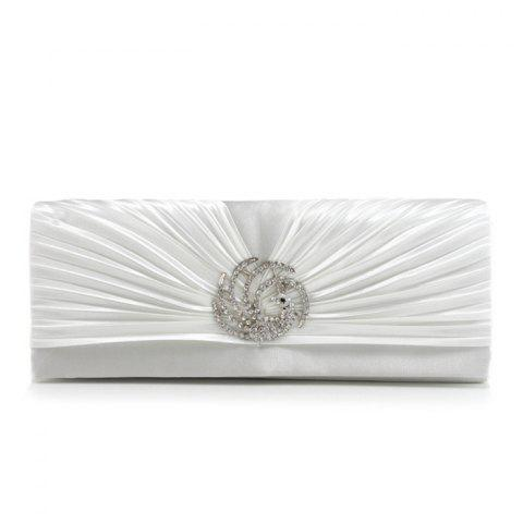 Shops Pleated Rhinestone Satin Evening Bag - OFF-WHITE  Mobile