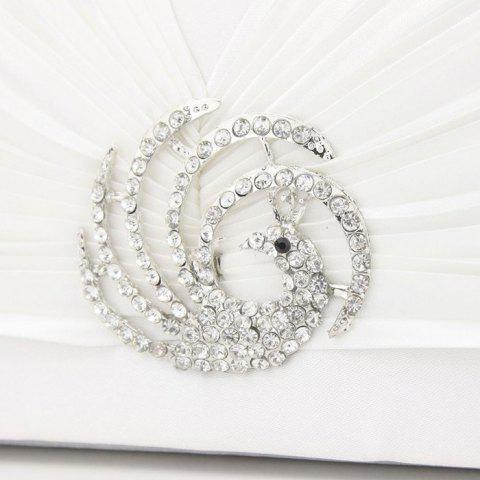 Shop Pleated Rhinestone Satin Evening Bag - OFF-WHITE  Mobile