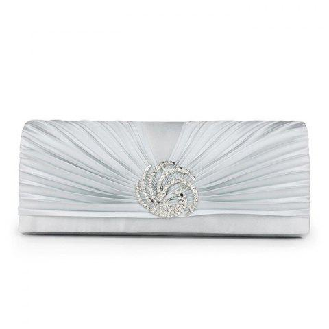 Outfits Pleated Rhinestone Satin Evening Bag - SILVER  Mobile