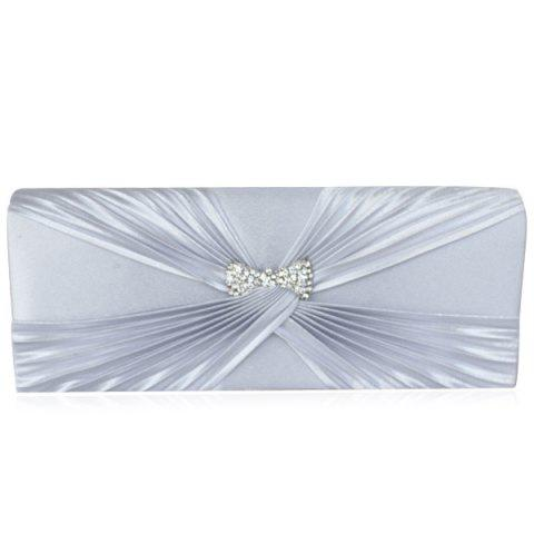 Unique Satin Twist Pleated Clutch Evening Bag SILVER