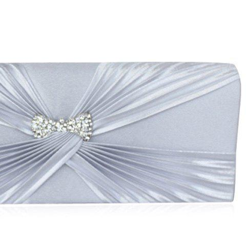 Chic Satin Twist Pleated Clutch Evening Bag - SILVER  Mobile
