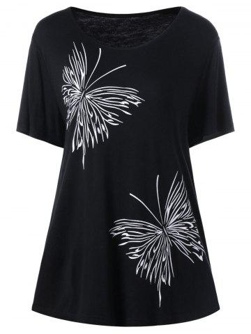 Plus Size Butterfly Graphic T-Shirt - Black - 5xl