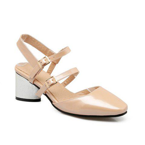 Buy Square Toe Double Buckle Strap Sandals - Apricot 37