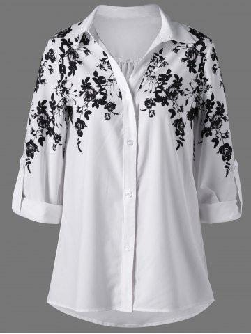Fashion Screen Floral Print Button Up Shirt WHITE AND BLACK 2XL