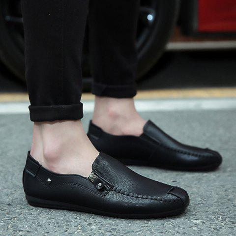 Buy Faux Leather Zipper Casual Shoes - Black 43
