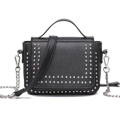 Rivet Chains Flap Crossbody Bag - Black
