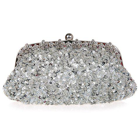Hot Rhinestone Sequins Clutch Evening Bag - SILVER  Mobile