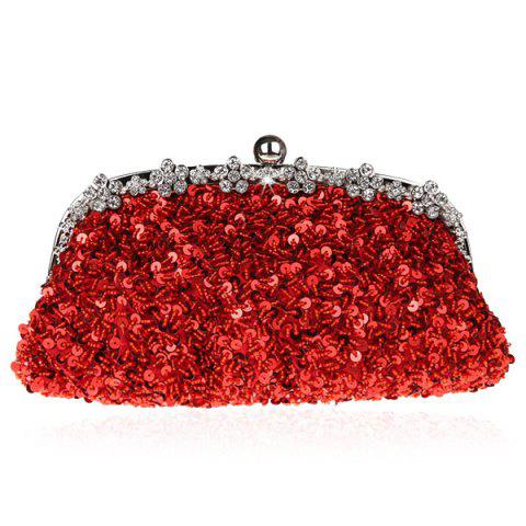 Fashion Rhinestone Sequins Clutch Evening Bag - RED  Mobile
