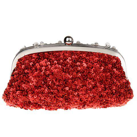 Discount Rhinestone Sequins Clutch Evening Bag - RED  Mobile