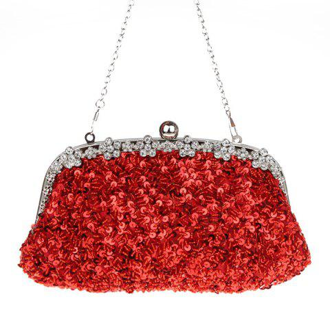 Outfits Rhinestone Sequins Clutch Evening Bag - RED  Mobile