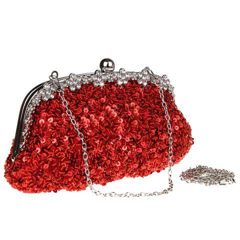 New Rhinestone Sequins Clutch Evening Bag - RED  Mobile