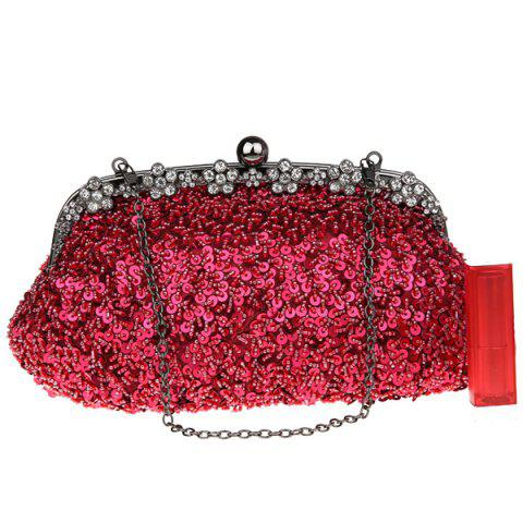 Outfits Rhinestone Sequins Clutch Evening Bag - WINE RED  Mobile