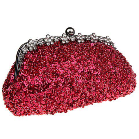 New Rhinestone Sequins Clutch Evening Bag - WINE RED  Mobile