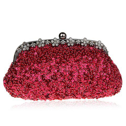 Discount Rhinestone Sequins Clutch Evening Bag - WINE RED  Mobile