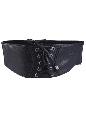 Stars Grommet Elastic Extra Wide Leather Belt - Black - 2xl