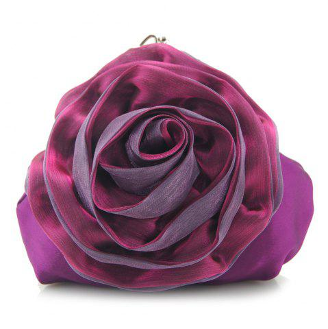 Affordable Satin Flower Metal Ring Evening Bag PURPLE