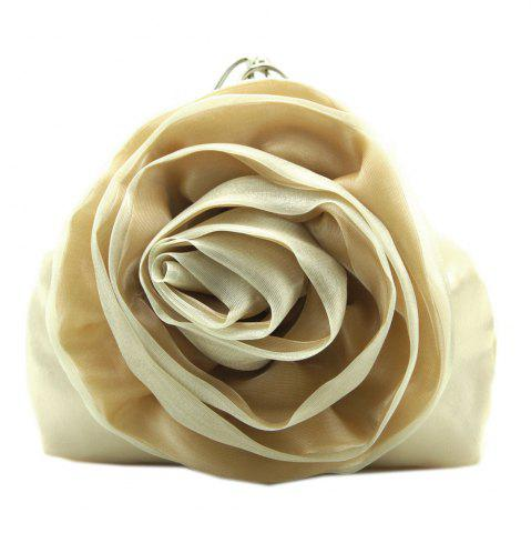 Store Satin Flower Metal Ring Evening Bag - BEIGE  Mobile