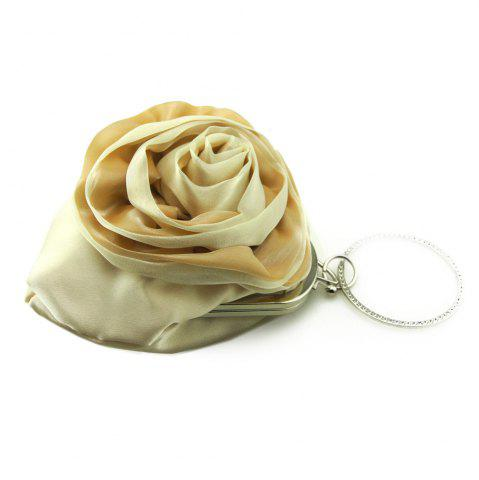 Online Satin Flower Metal Ring Evening Bag - BEIGE  Mobile
