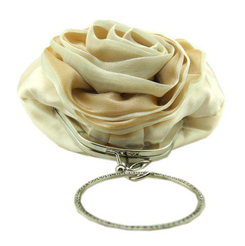 Shop Satin Flower Metal Ring Evening Bag - BEIGE  Mobile