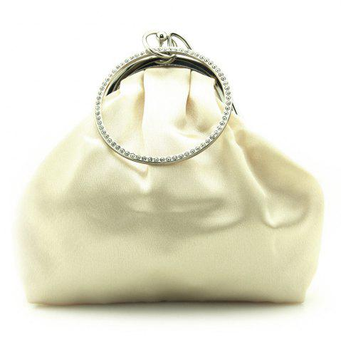 Unique Satin Flower Metal Ring Evening Bag - BEIGE  Mobile