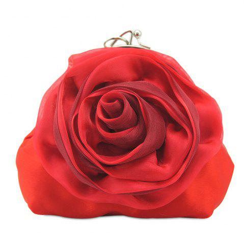 Shop Satin Flower Metal Ring Evening Bag RED