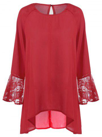 Buy Flare Sleeve High Low Hem Blouse - Red 3XL