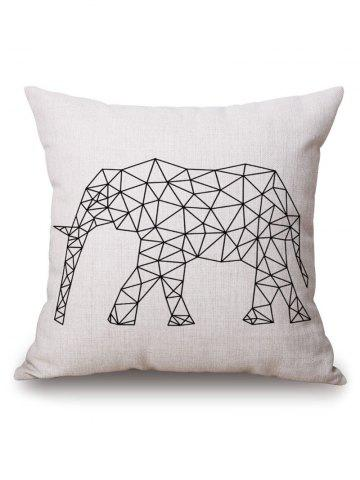 Store Geometric Elephant Printed Pillow Case - 45*45CM OFF-WHITE Mobile