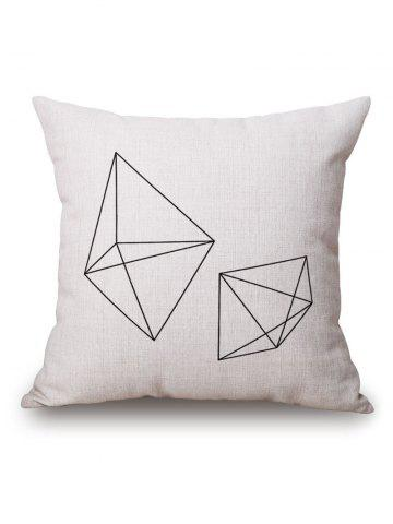Geometric Cube Printed Pillow Case - Off-white - 45*45cm