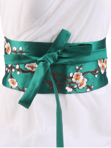 Affordable Wintersweet Embroidery Kimono Bowknot Corset Waist Belt GREEN