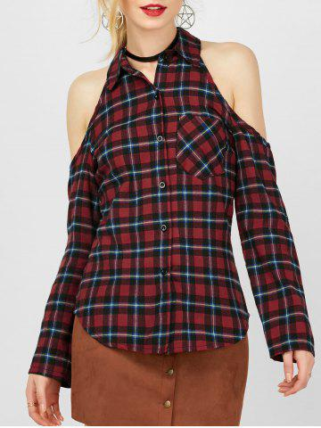 Buy Cold Shoulder Plaid Button Shirt - Checked XL