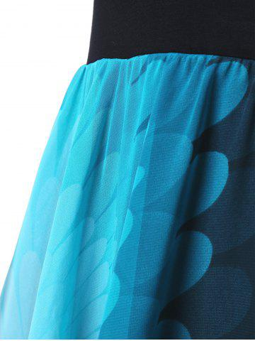 Affordable Plus Size High Waist Handkerchief Dress - ONE SIZE BLUE AND BLACK Mobile